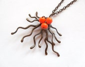 Copper wire pendant orange beaded jewelry statement Fantasy