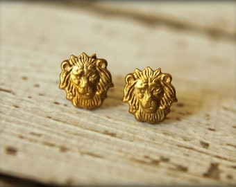 Lion Head Earring Studs in Raw Brass, Stainless Steel Posts