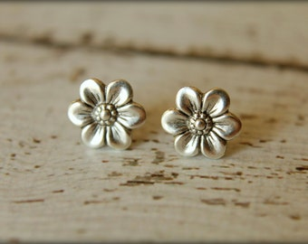 Six Petal Flower Earring Posts in Antique Silver