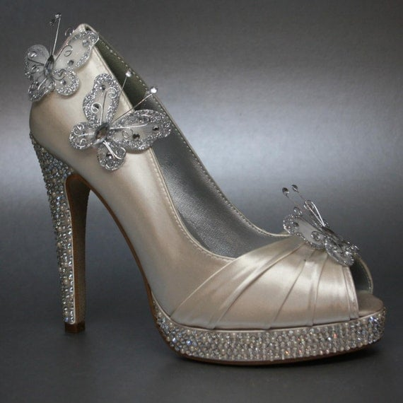 Items Similar To Wedding Shoes -- Ivory Wedding Butterfly