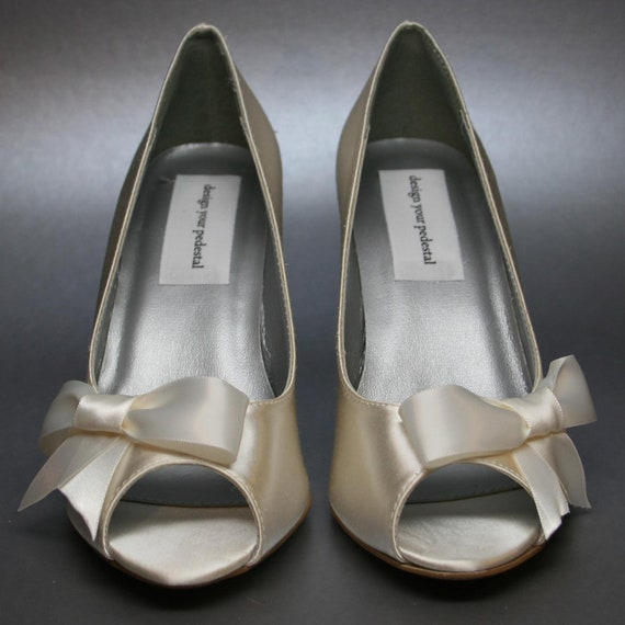 Wedding Shoes -- Ivory Peeptoe Wedges with Off-Center Ivory Bow
