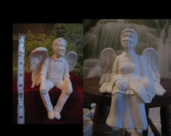 "8"", Grandma Angel, Grandpa Angel, Shelf sitter, Guardian Angels,Country Angels,Granny Angel,PaPa Angel,Ready to paint,Ceramic bisque,u-paint"