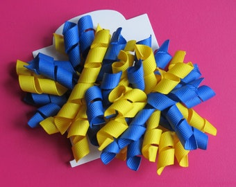Hair Bow Set - Royal Blue and Yellow Korkers