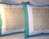 4 Turquoise w/ White & Tan Greek Key Maze Pillow Covers Reserved for Marsha