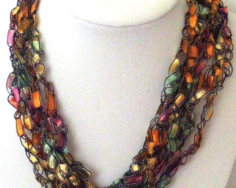 Sherbet Delight Crocheted Ladder Yarn Necklace & Matching Earrings