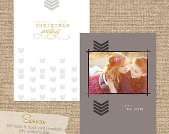 "INSTANT DOWNLOAD ""Seneca"" Custom Photo Christmas Card Template"
