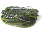 green leather wrap bracelet, suede, boho chic, chiffon, rocker style, silver ball chain