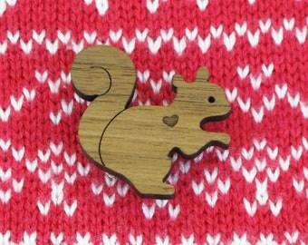 Squirrel Brooch - Walnut - Laser Cut