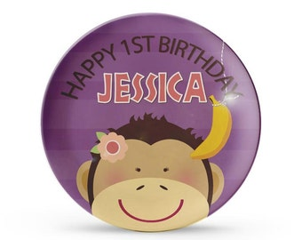 Personalized Plate, Monkey Birthday Plate, Girls Personalized Melamine Jungle Birthday, Zoo Party Plate