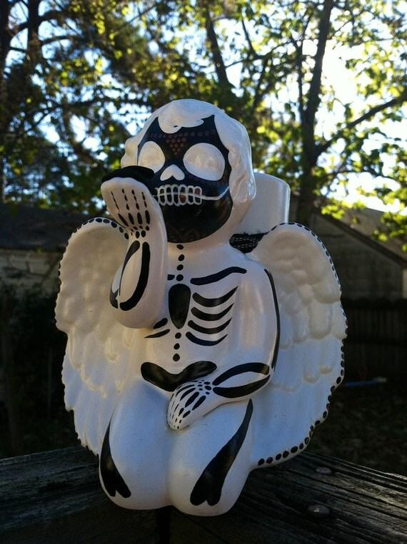 Dia de los Muertos inspired angel planter / makeup brush holder