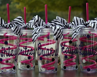 6 Personalized Acrylic Tumblers with Pink Crazy Straws