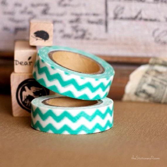 Japanese Washi Tape - Masking Tape Roll in Aqua Green and White Chevon Pattern