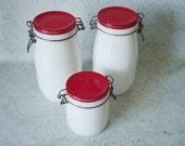 Glass Kitchen Storage Set - Vintage Storage Jars - Kitchen Spice Set - Kitchen Storage Jars