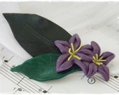 Wedding Flower Brooch, Woodland Clay Brooch, Polymer Clay Brooch, Purple Floral Boutonniere, Hand-Sculpted Blossom Scarf Pin - One Of A Kind