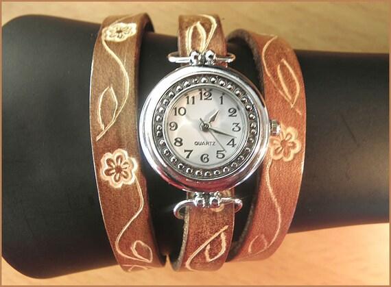 women wrist watch handmade leather bracelet wrap