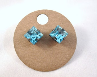 Aqua stud earrings - aqua blue square crystals on titanium posts - nickel free for sensitive ears