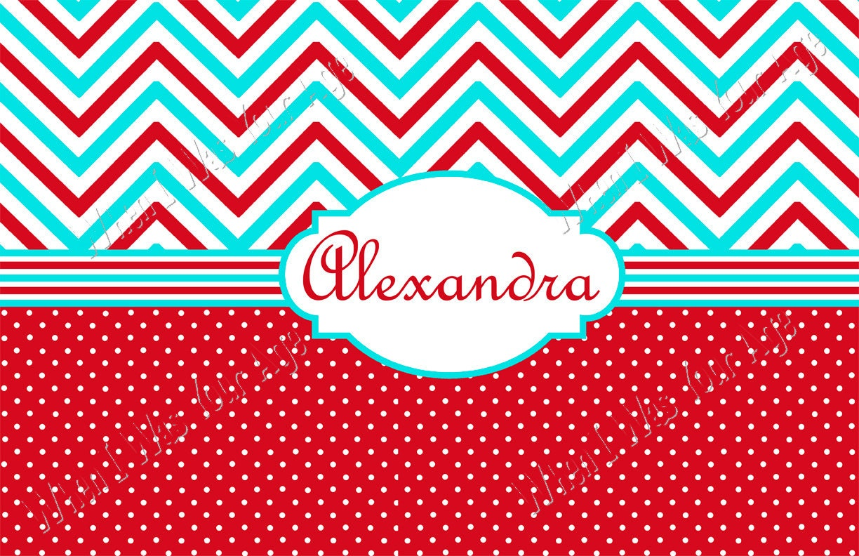 Aqua and Red Chevron and Polka Dot Personalized Placemat