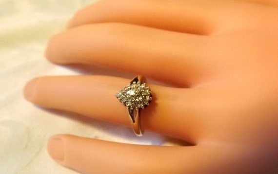 Vintage Sparkling Diamond Cluster Ring/ .25 Carat/ Engagement/Cocktail/9K Yellow Gold