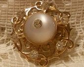 Vintage White MoonGlow and Rhinestone Brooch Pin