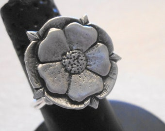 Tudor Rose Pewter Button Ring, Wire Wrapped
