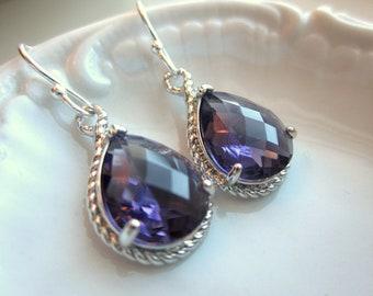 Amethyst Earrings Purple Silver Teardrop Earrings - Sterling Silver Earwires - Bridesmaid Earrings Wedding Earrings Valentines Day Gift
