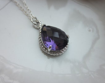 Amethyst Necklace Silver Purple Teardrop - Sterling Silver Chain - Bridesmaid Jewelry - Wedding Jewelry - Valentines Day Gift
