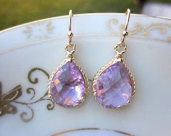 Lavender Earrings Purple Gold Teardrop Pendant - Bridesmaid Earrings Wedding Earrings Bridal Earrings Valentines Day Gift