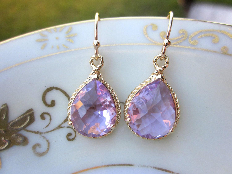 lavender earrings purple gold teardrop pendant bridesmaid