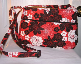 Black and White Flowers on a Red Background Quilted Crossbody/Shoulder Purse.