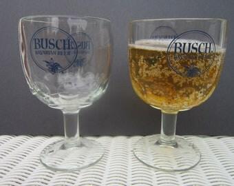 Vintage Busch Bavarian Beer Thumbprint Goblets navy blue logo set of 2