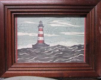 Reserved For Koellner Vintage Framed Lighthouse Picture  by Noel Woodcraft