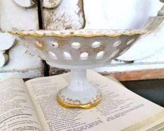 Antique Victorian Bowl White Gold Centerpiece Porcelain Pedestal