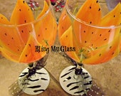 Two Large Orange Tiger Lilly Wine Glasses