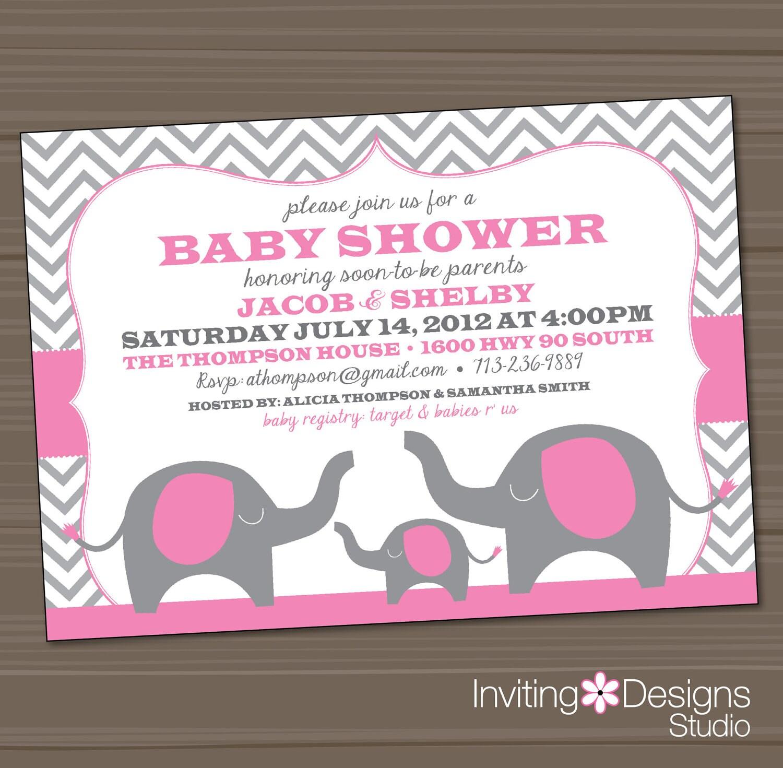 elephant baby shower invitation pink gray by invitingdesignstudio