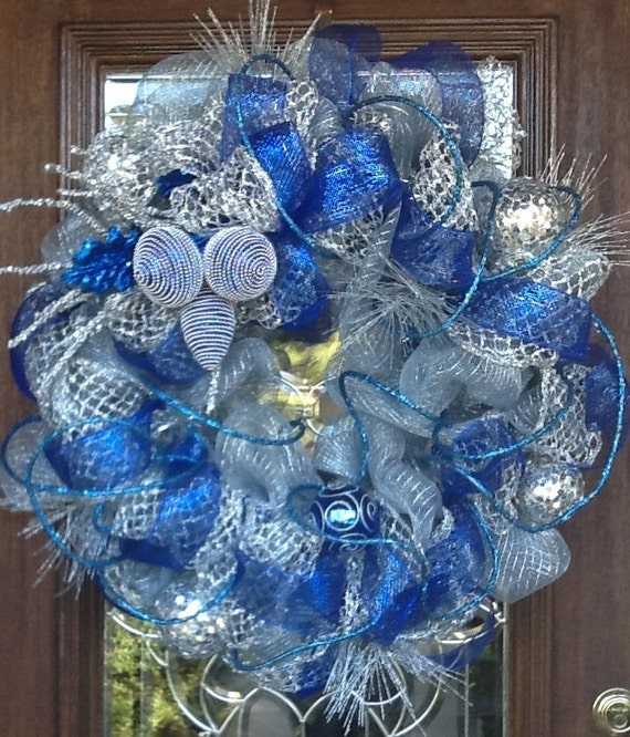 items similar to deco mesh blue and silver wreath on etsy