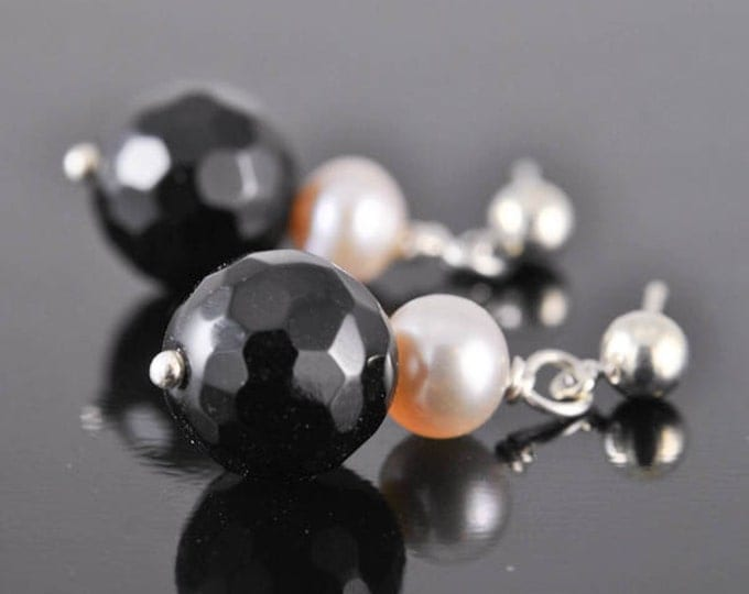 Pearl earrings, onyx jewelry, freshwater pearl, onyx earrings, sterling silver earrings, beaded earrings, black earrings