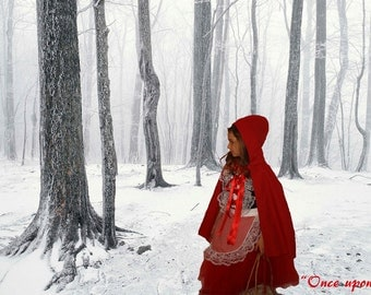 Little Red Riding Hood inspired handmade costume set for Halloween,Christmas, holiday photoprop,birthday,dress up costume