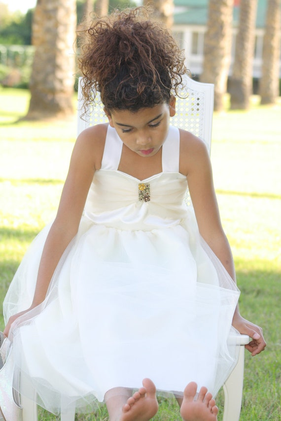 "Handmade "" When the Angels Dream""  ivory flower girl vintage dress, wedding, Christmas, junior bridesmaid,pageant other colors are available"