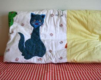vintage 60s baby quilt - CAT NAP animal print baby blanket