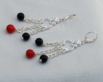 Black Onyx & Red Coral Chandelier Earrings, Drop Earrings, Dangle Earrings, Trending Earrings, Trending Jewelry