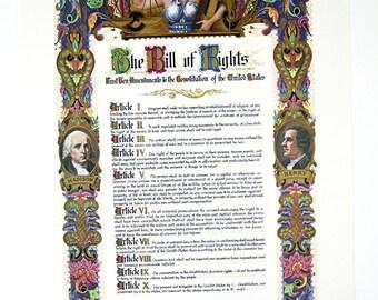 Vintage 1970's J. R. Rosen The Bill Of Rights Poster Print