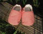 Cloth Baby Shoes in Orange and White Stripe