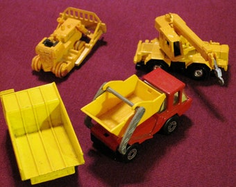 Set of Four Vintage Die Cast Construction Vehicle Toys - Ships Free in USA
