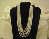 Free Shipping JAPAN PEARL NECKLACE Vintage Multi strand Beautiful