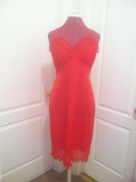 Vintage Shadowline Sexy RED Full Slip Dress with Crystal Pleats Size 36