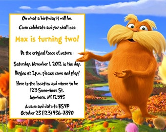 The Lorax Inspired Invitation