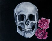 "Skull  Roses ""An After Thought"" LIMITED EDITION 12x12 print (ready to hang) by Erin Paul"