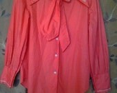 Beautiful coral orange 1970s shirt with neck tie