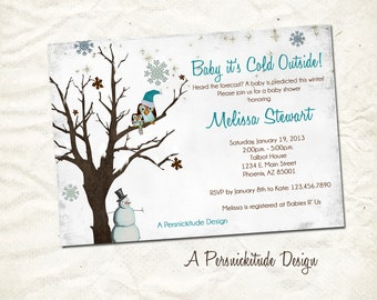 winter snowflake baby shower invitation print yourself file