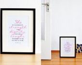 She. Proverbs 31:25. Pink. Cursive Script. 8x10. Christian Poster Print. Bible Verse.